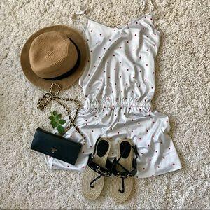 White silk-like dress 🍓🍓(strawberry detail)